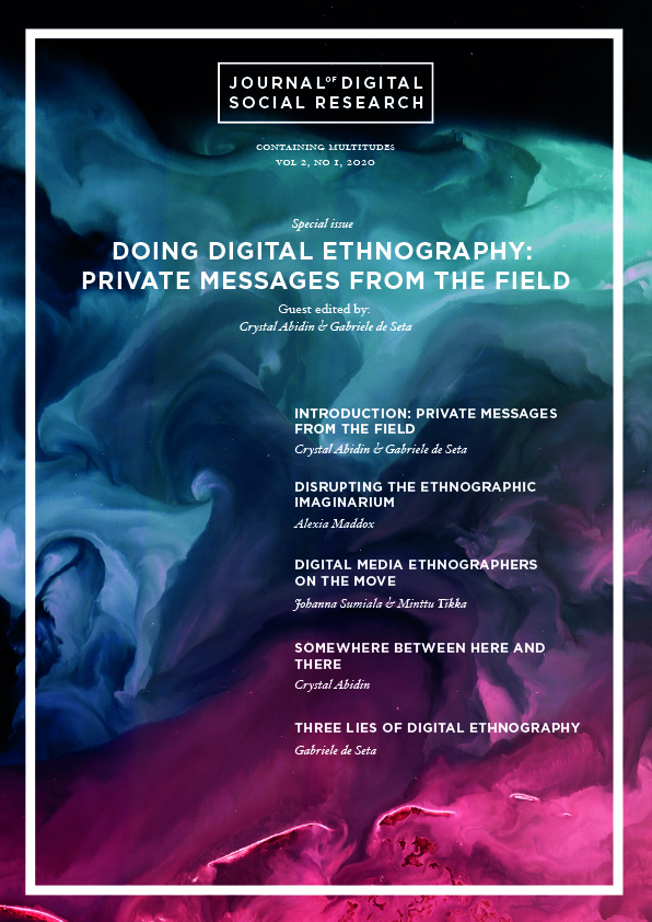 JDSR Vol 2, Nr 1, Cover image – Doing Digital Ethnography: Messages from the Field